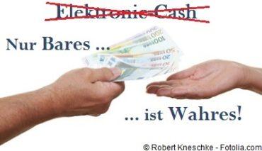 Bargeldabschaffung gehört verboten, denn nur Bares ist Wahres. Bargeld ist ein großes Stück Freiheit des Volkes.